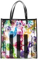 Versace baroque print transparent tote bag