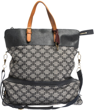 Celine Blue/Brown Macadam Canvas and Leather Vertical Tote