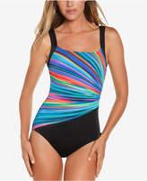 Reebok Radiant Energy Printed Tummy-Control One-Piece Swimsuit