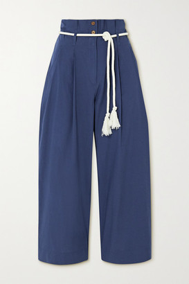 Vanessa Bruno Nardo Cropped Belted Cotton Tapered Pants - Indigo