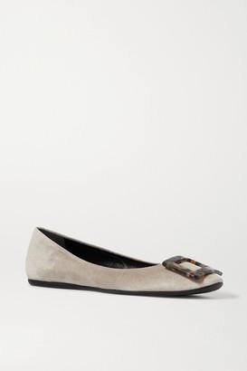 Roger Vivier Gommette Embellished Suede Ballet Flats - Beige