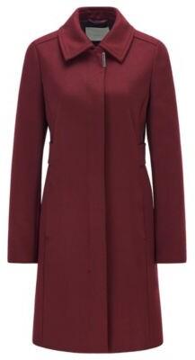 HUGO BOSS - Regular Fit Coat In Merino Wool And Cashmere - Dark Red