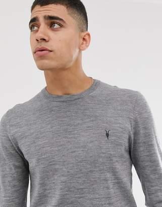 AllSaints 100% merino wool crew neck jumper in grey