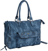 Denim Studded Satchel