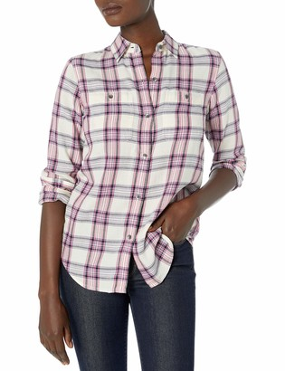 Chaps Women's Long Sleeve Yarn Dyed Twill-Shirt