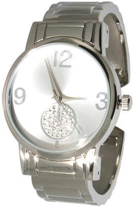Women Rhinestone Sub-Dial Minimalist Cuff Bracelet Watch 38mm