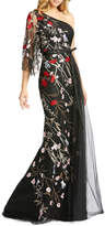 Mac Duggal 6-Week Shipping Lead Time Floral Embellished One-Shoulder Illusion Sleeve Tulle Gown