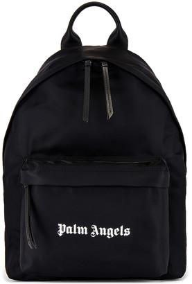 Palm Angels Logo Backpack in Black & White | FWRD
