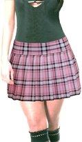 SenecaClothing Baby Pink Stretch Lycra Schoolgirl Tartan Plaid Pleated Mini Skirt Baby Pink Stretch