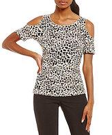 Calvin Klein Leopard Print Matte Jersey Cold Shoulder Top