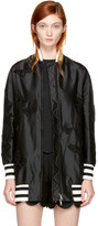 Valentino Black Long Butterfly Bomber Jacket