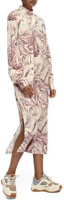 Scotch & Soda Marble Print Long Sleeve Midi Dress
