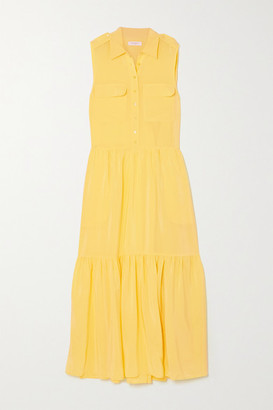 Equipment Allix Washed-silk Midi Shirt Dress - Yellow