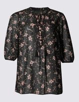 Marks and Spencer PLUS Floral Print V-Neck 3/4 Sleeve Tunic