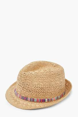 boohoo Straw Fedora With Multi Colour Trim