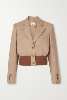 Burberry Cropped Wool-blend And Stretch-knit Blazer - Beige