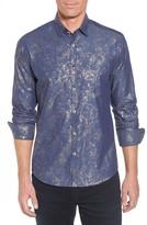Stone Rose Men's Stardust Diamond Regular Fit Foil Print Sport Shirt