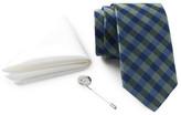 Ben Sherman Silk Check Tie, Solid Pocket Square, & Lapel Pin Box Set