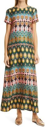 La DoubleJ Print Silk Long Swing Dress
