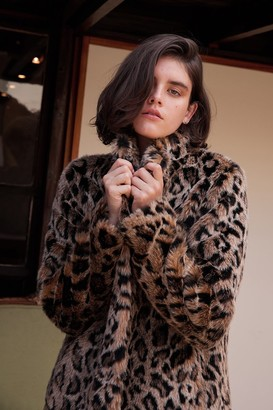 Velvet by Graham & Spencer Chrissie Leopard Faux Fur Coat
