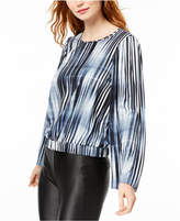 Bar III Printed Flare-Sleeved Blouson Top, Created for Macy's