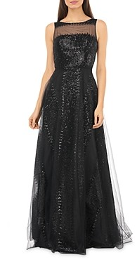 Carmen Marc Valvo Sequined Illusion Gown