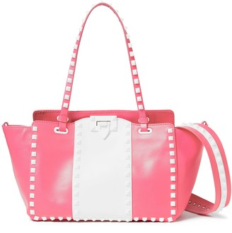 Valentino Free Rockstud Trapeze Two-tone Pebbled-leather Tote