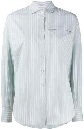 Brunello Cucinelli Monili-Embellished Striped Shirt