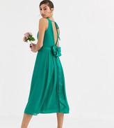 TFNC Tall Tall Bridesmaid midi dress with bow back in emerald green