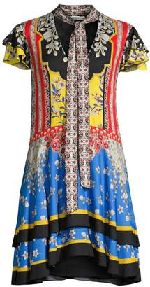 Alice + Olivia Moore Floral Flutter-Sleeve Tieneck Shift Dress