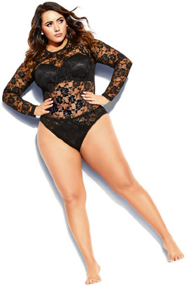 City Chic Lace Bodysuit - black