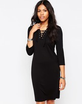 B.young Rosil Lace Up Neck Bodycon Dress