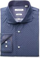 Isaac Mizrahi Men's Slim Fit Broadcloth Printed Dot Cut Away Collar Dress Shirt