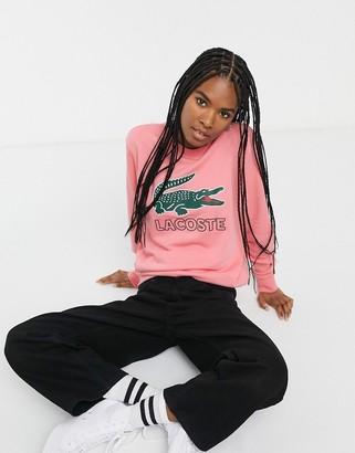 Lacoste sweatshirt with retro croc logo-Pink