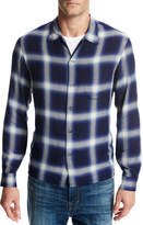 Vince Ombré Plaid Open-Collar Shirt, Blue