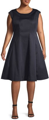 Lafayette 148 New York Plus Sleeveless Fit-&-Flare Dress