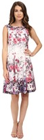 Adrianna Papell Floral Print Bateau Neck Fit and Flare Dress