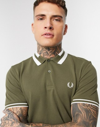 Fred Perry block tipped polo shirt in khaki