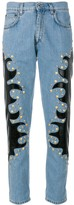Moschino studded patch straight jeans