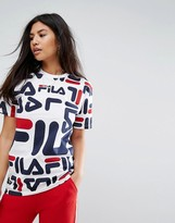 Fila Oversized Boyfriend T-Shirt With All Over Logo