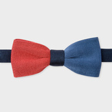 Paul Smith Men's Blue, Navy And Burnt Red Knitted Silk Bow Tie