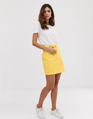 Vero Moda denim mini skirt-Yellow