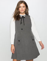 ELOQUII Plus Size Wool Asymmetrical Button Dress