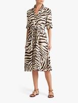Ralph Lauren Ralph Zebra Stripe Shirt Dress, Dark Brown/Multi