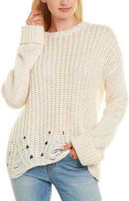 Autumn Cashmere Cuffed Silk, Wool & Cashmere-Blend Sweater