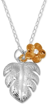 """Kona Bay Palm Frond & Crystal Accent Flower Pendant Necklace in Fine Silver-Plate & Rose Gold-Plate, 16"""" + 2"""" extender"""