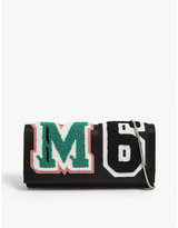 Maison Margiela Towelled logo leather clutch