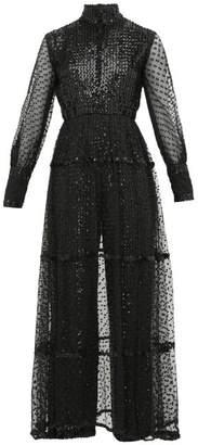 Oscar de la Renta William Vintage Sequinned Plumetis Jumpsuit - Womens - Black