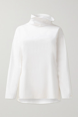 Akris Cotton-poplin Turtleneck Top - White