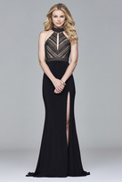 Faviana s7932 Long jersey fit and flare with banded lace bodice